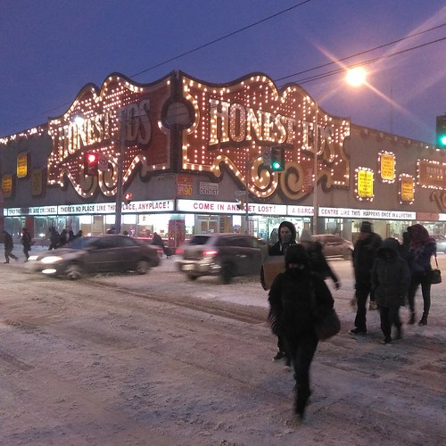 Honest Ed's through late afternoon snow