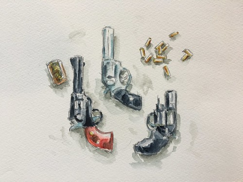 Watercolor pistols at Andy Dalton Shooting Range, Ash Grove, Missouri.