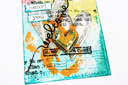 Meihsia Liu Simply Paper Crafts Mixed Media tag Welcome Baby Simon Says Stamp  Monday Challenge 4