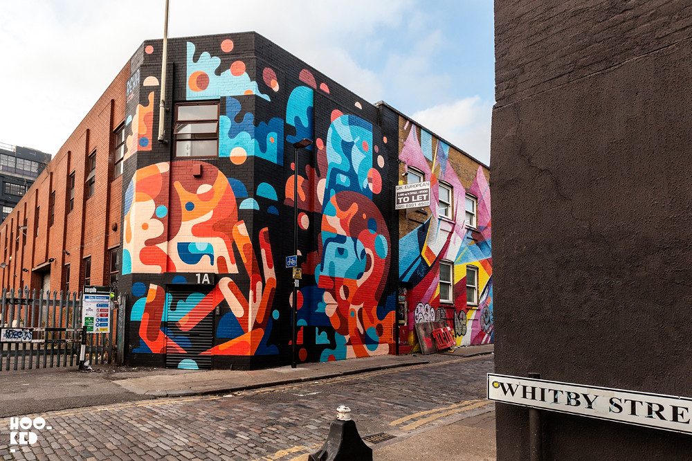 Union Jack Mural on London's Chance Street by artist James Reka