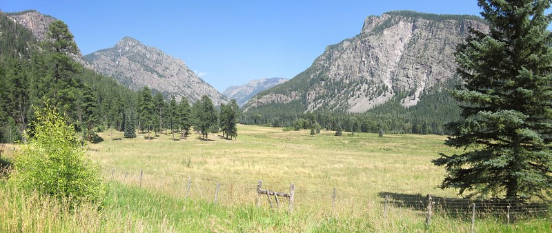 Looking out from the Pine River Campground at Runlett Peak (11288 feet) and Peaks 11405 and 9777