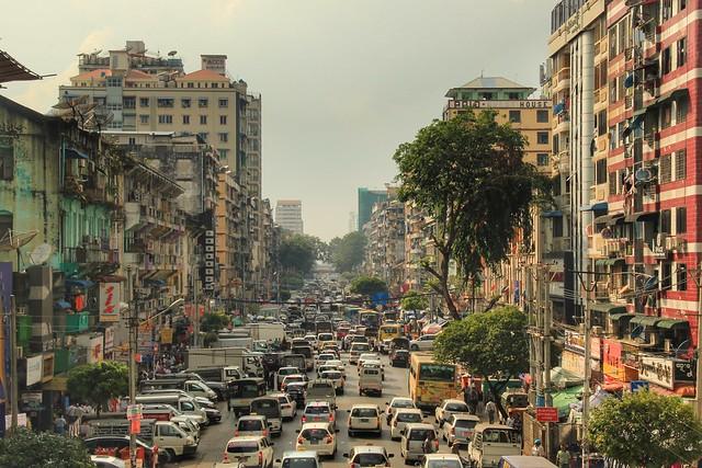 Streets of downtown Yangon