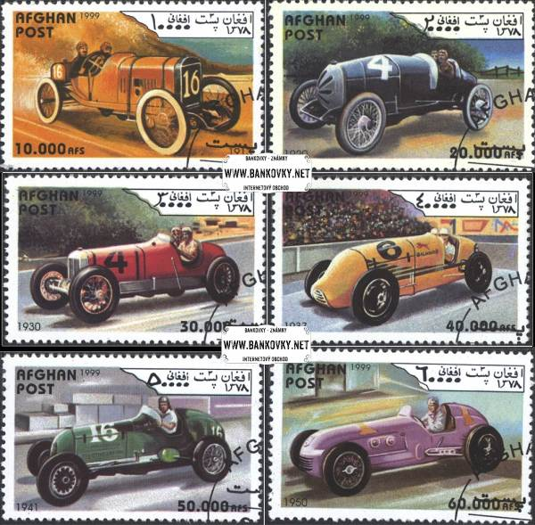 Známky Afganistan 1999 Staré závodné automobily, razítkovaná séria