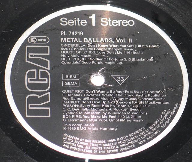"Metal Ballads - Vol 2 12"" vinyl LP"