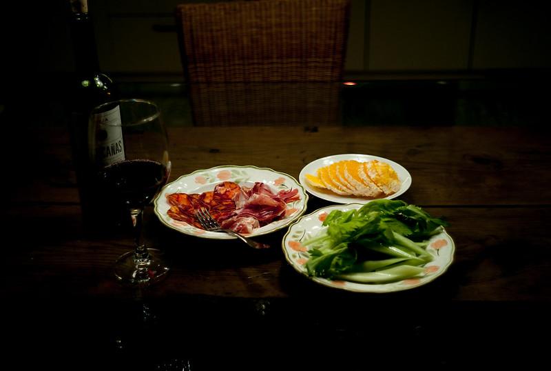 La cena en el apartamento