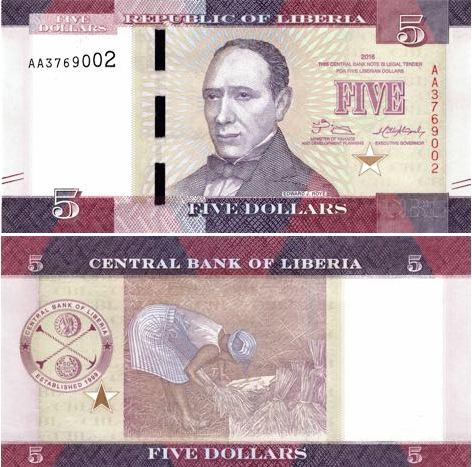 5 Dolárov Libéria 2016, P31 UNC