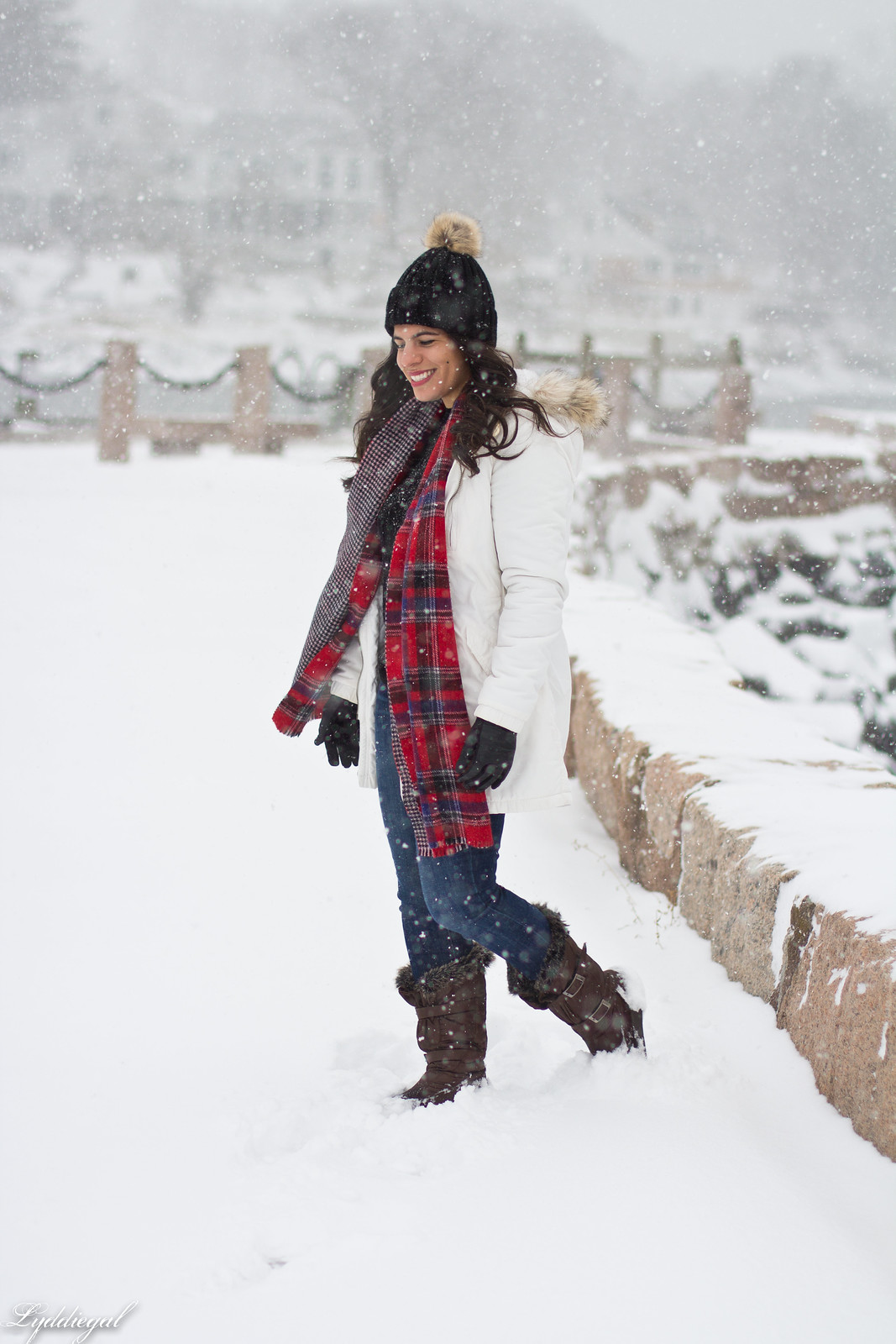 snow outfit, white parka, plaid scarf, pom hat-1.jpg