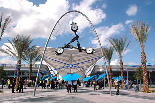 Time Piece: Iconic sculpture by Donald Lipski frames the entrance to the new El Monte Bus Station