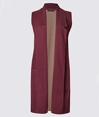 M&S sleeveless burgundy coatigan