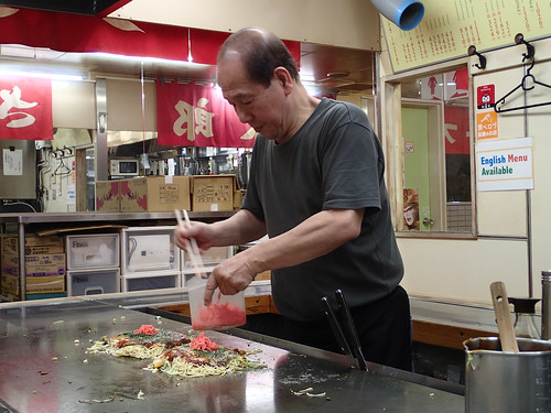 Okonomiyaki being made at Okonomi-mura Hiroshima