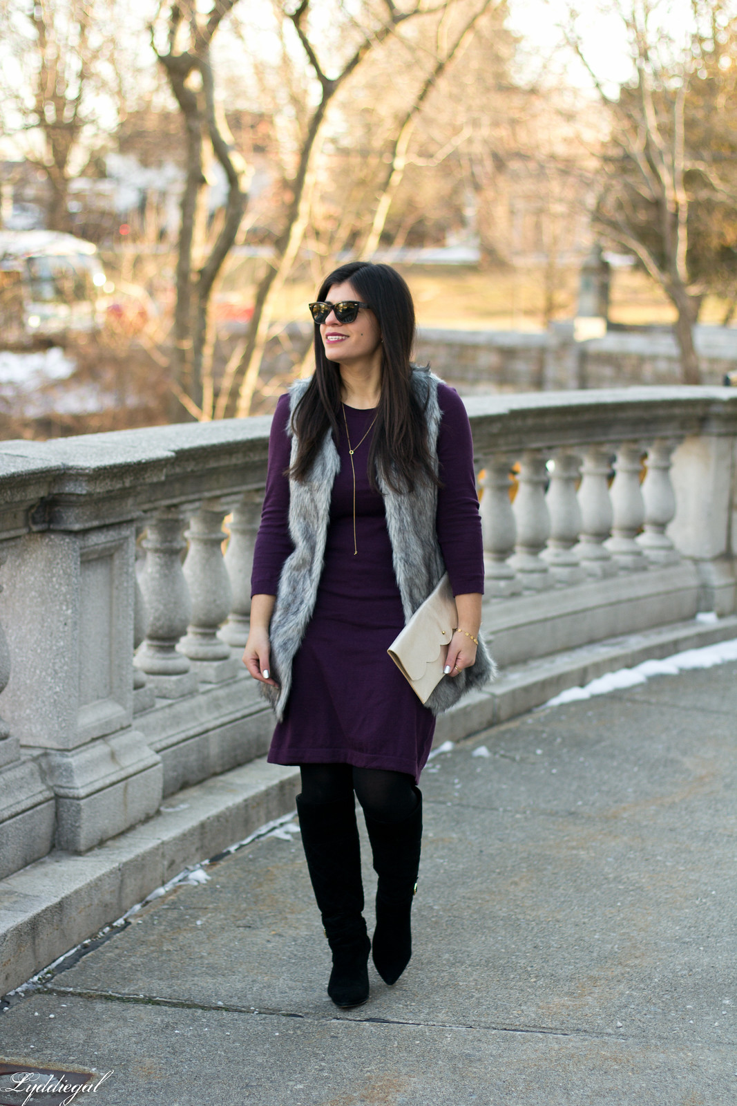 Swap Burgundy Sweater Dress, fur vest, matine clutch.jpg