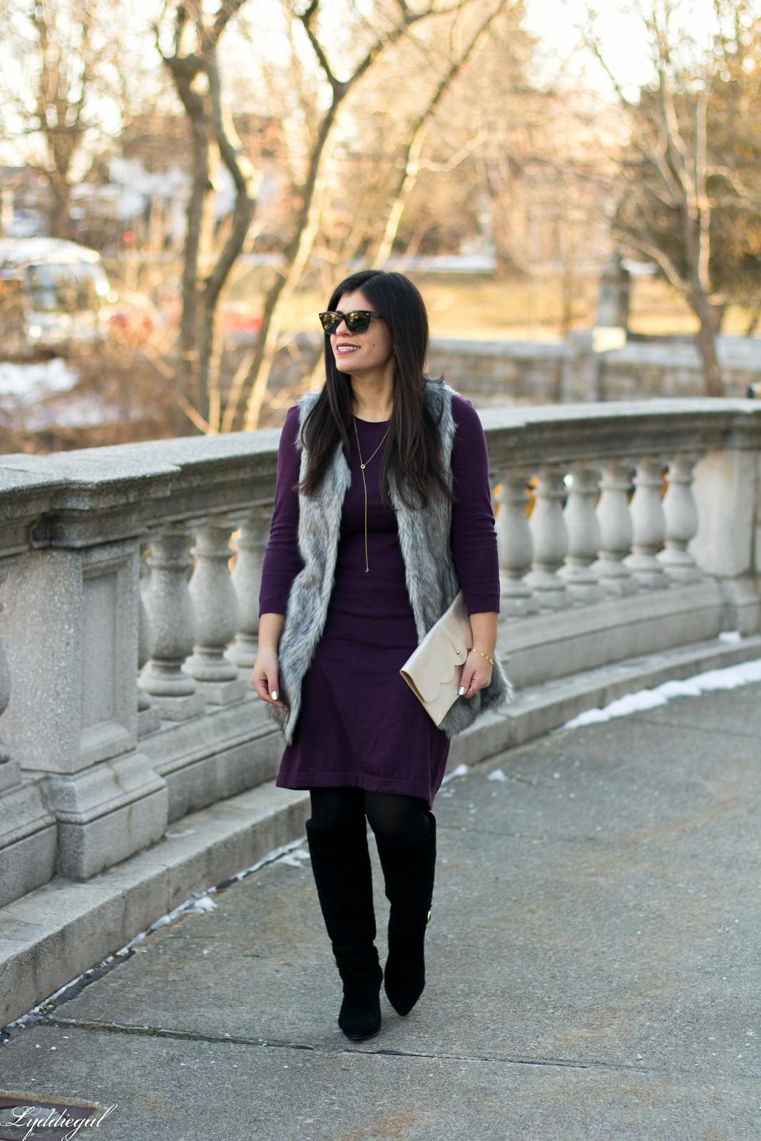 Swap Burgundy Sweater Dress, fur vest, matine clutch.jpg