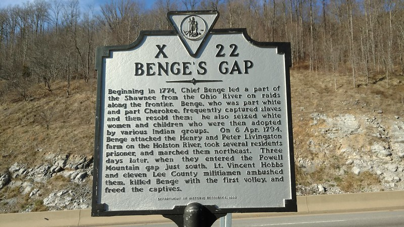 Virginia Historical Marker X 22 Benge's Gap