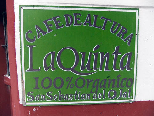 The sign for La Quinta 100% organic coffee plantation in San Sebastian, a Pueblo Magico in the state of Jalisco, Mexic