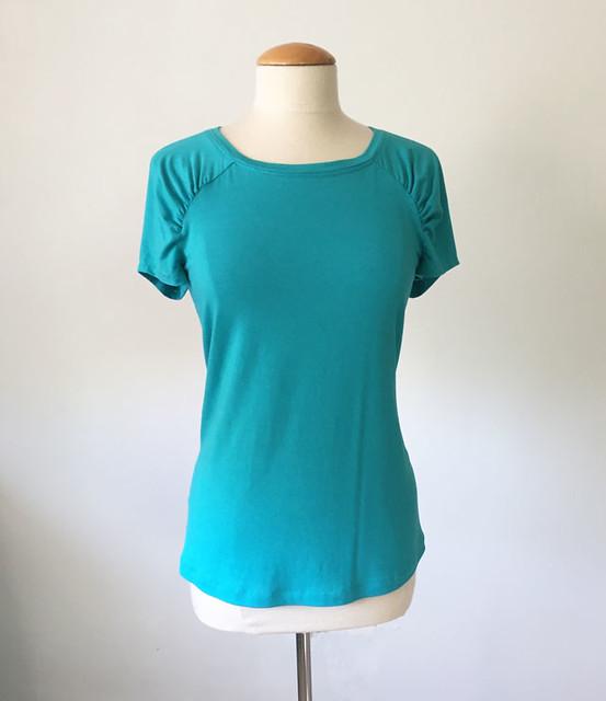 green knit Burda top