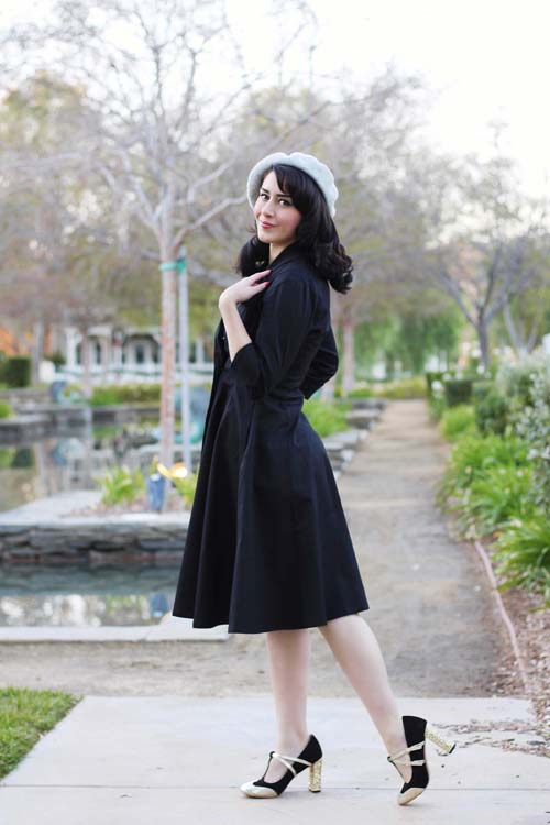 Unique Vintage Black Three-Quarter Sleeve Button Up Bordeaux Dress Coat 1960s Grey Short Sleeve Stretch Mod Wiggle Dress