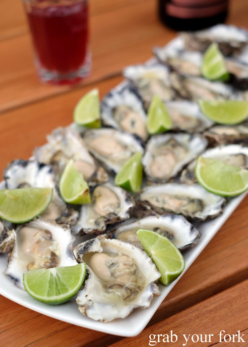 Freshly shucked Sydney Rock oysters at our Stomachs 11 Christmas dinner 2016