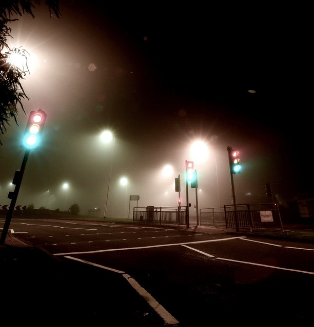 Foggy traffic lights