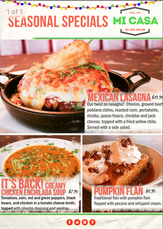 Seasonal Specials at Mi Casa