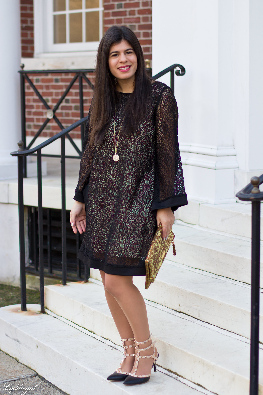 black lace dress, gold sequin clutch, studded pumps-1.jpg