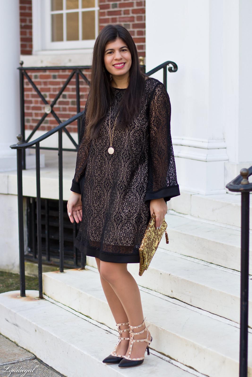 black lace dress, gold sequin clutch, studded pumps-1.jpg