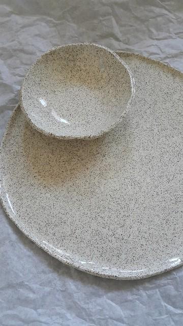 Hand thrown ceramics plates bowls