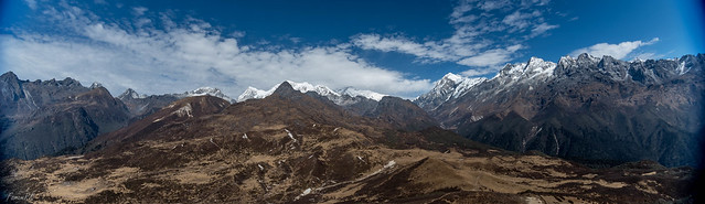 Ultra wide angle shot of the Himalayan peaks looking north from Dzongri Top
