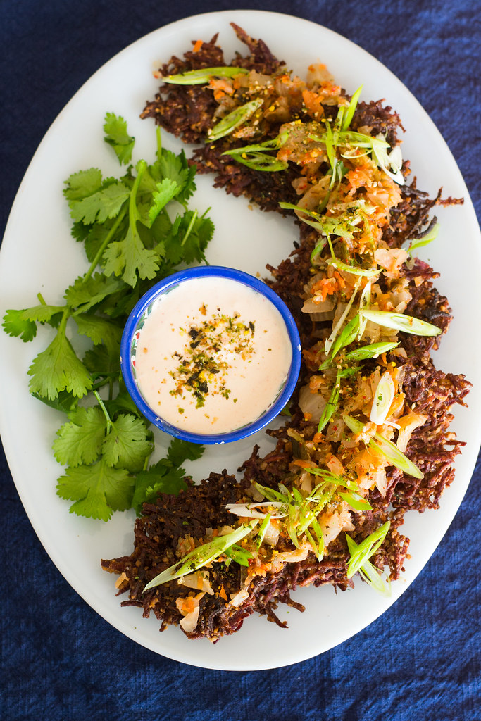 Purple Sweet Potato Latkes with Kimchi