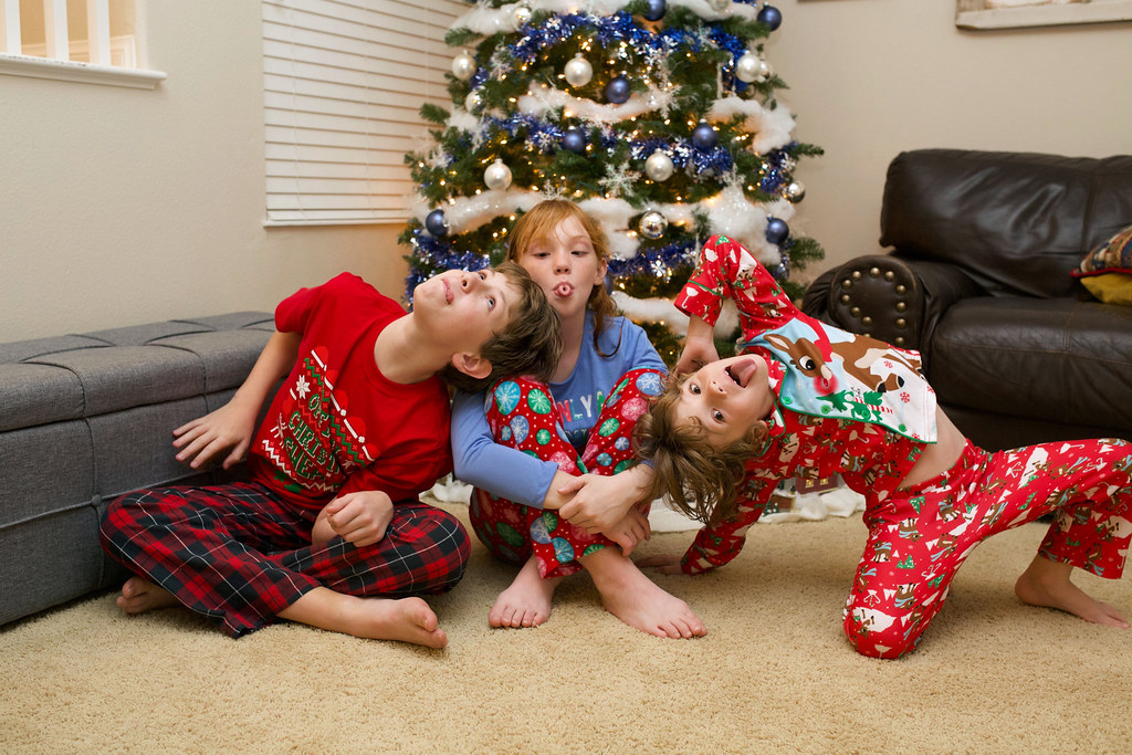 Silly Faces with Christmas Pajamas