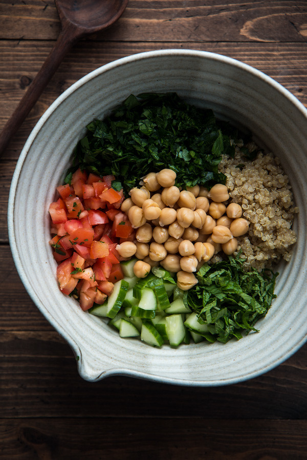 Gluten Free Tabbouleh Salad with Quinoa and Chickpeas