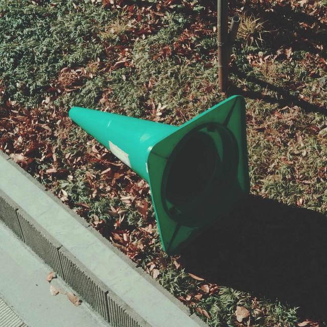 Fallen safety cone