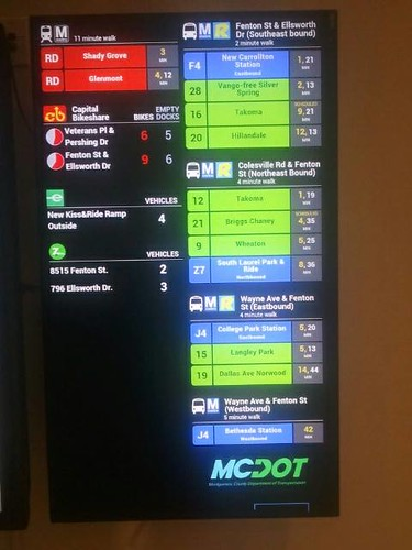 TransitScreen mobility information display, Silver Spring Civic Center