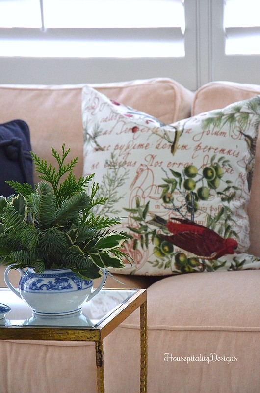 Fresh Greens arrangement-Christmas pillow-Master Bedroom Sitting Area-Housepitality Designs