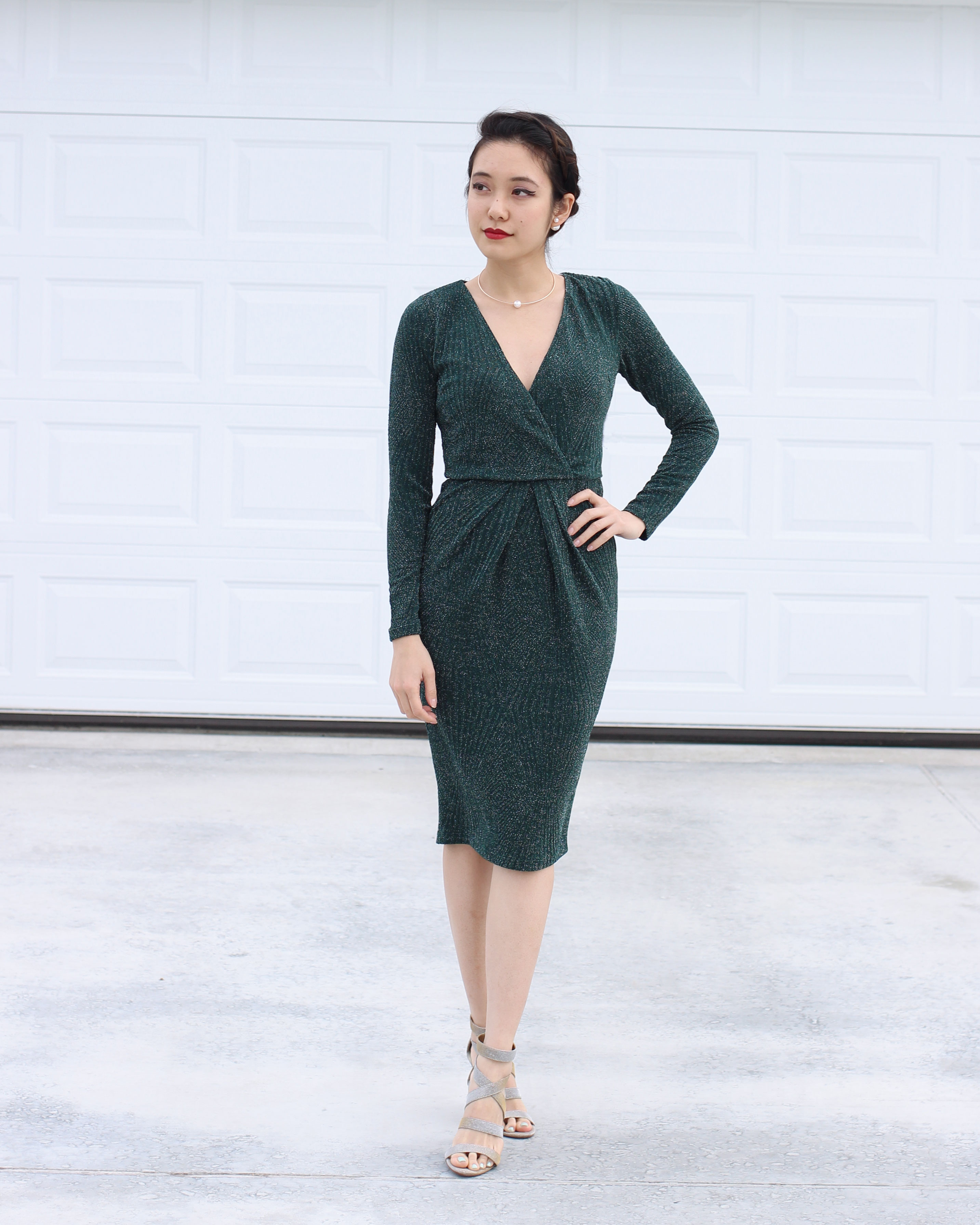 Green long sleeve shimmery body con dress