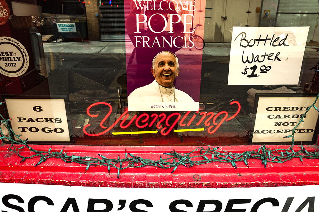WELCOME POPE FRANCIS sign at Oscar's Tavern--Center City