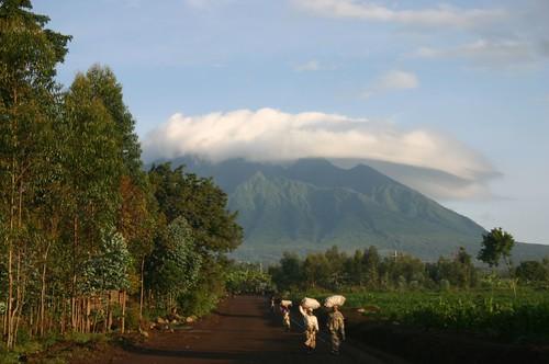 People on the road outside Volcanoes National Park, Rwanda
