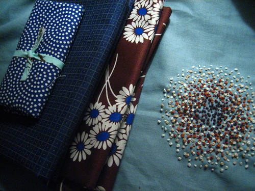 French Knots - Browns on Blue | by badecca