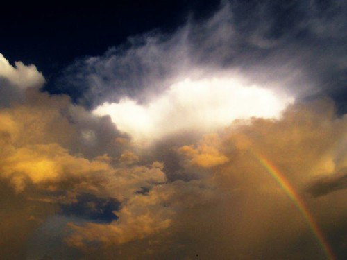 Contrasting clouds with rainbow© | by Confused Shooter