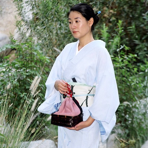 """Ro"" Kimono with takekago Kinchaku(Bamboo busket purse) 