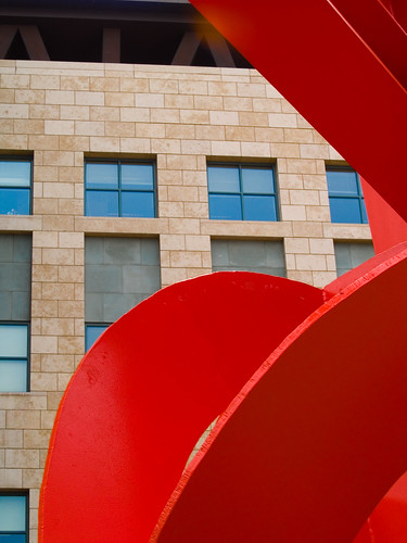 "Detail from ""Lao Tzu"" by Mark di Suvero, courtyard of the Denver Art Museum, with the Denver Public Library in the background, June 2007 