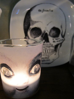 #293 - Creepy Doll Candle & Skull Plate | by katbaro