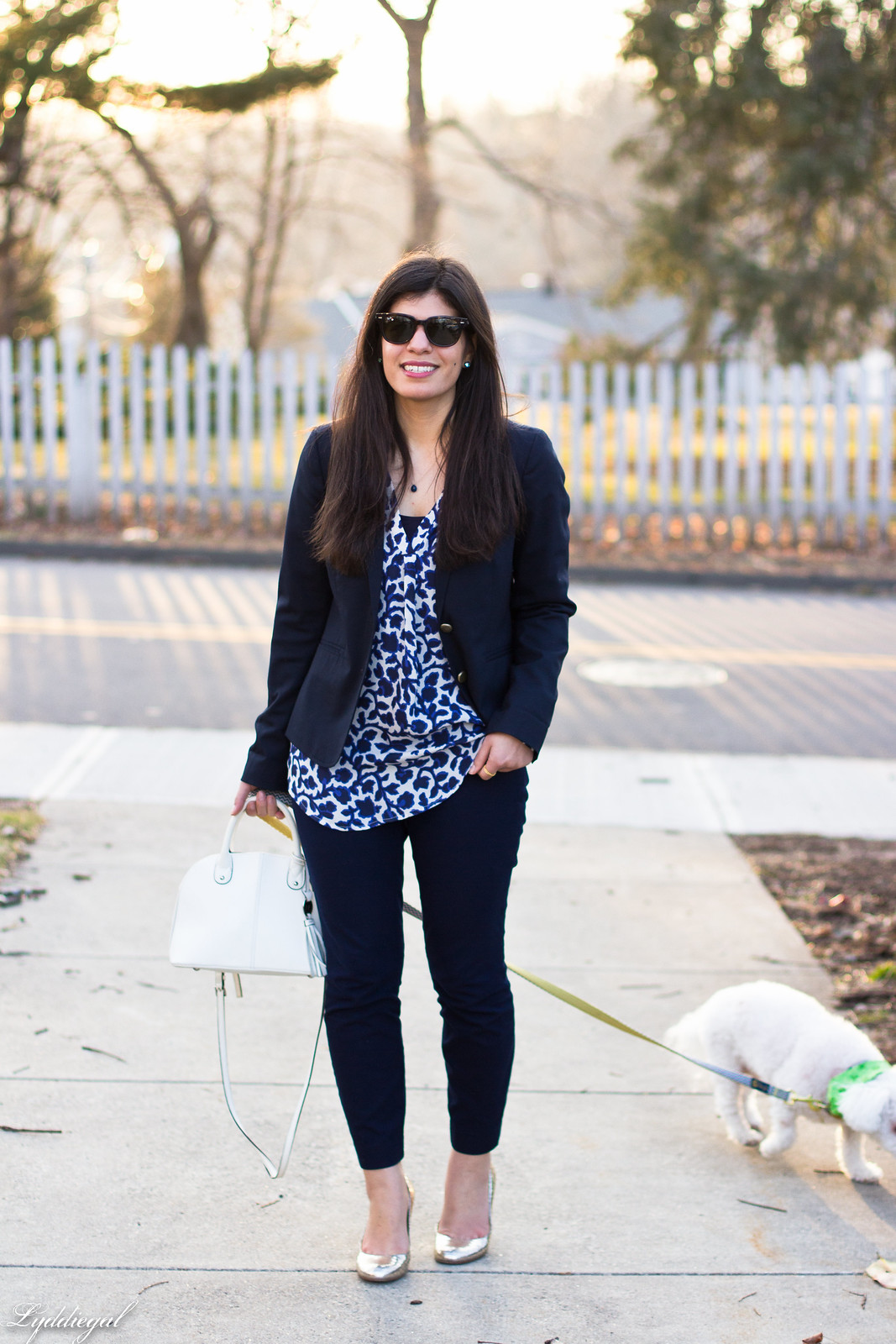blue and white silk floral blouse, navy pants and blazer, dog-4.jpg