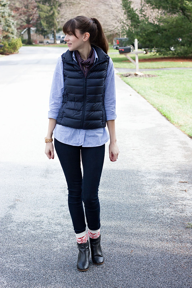 Navy Puffy Vest, Uniqlo, J.Crew Striped Shirt