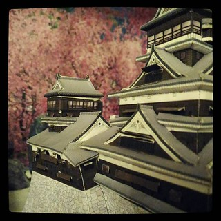 Humanity castle #papercraft and some cherry blossoms, for #365days project, 97/365