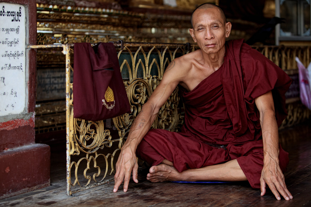 A Contemplative Monk At The Shwedagon