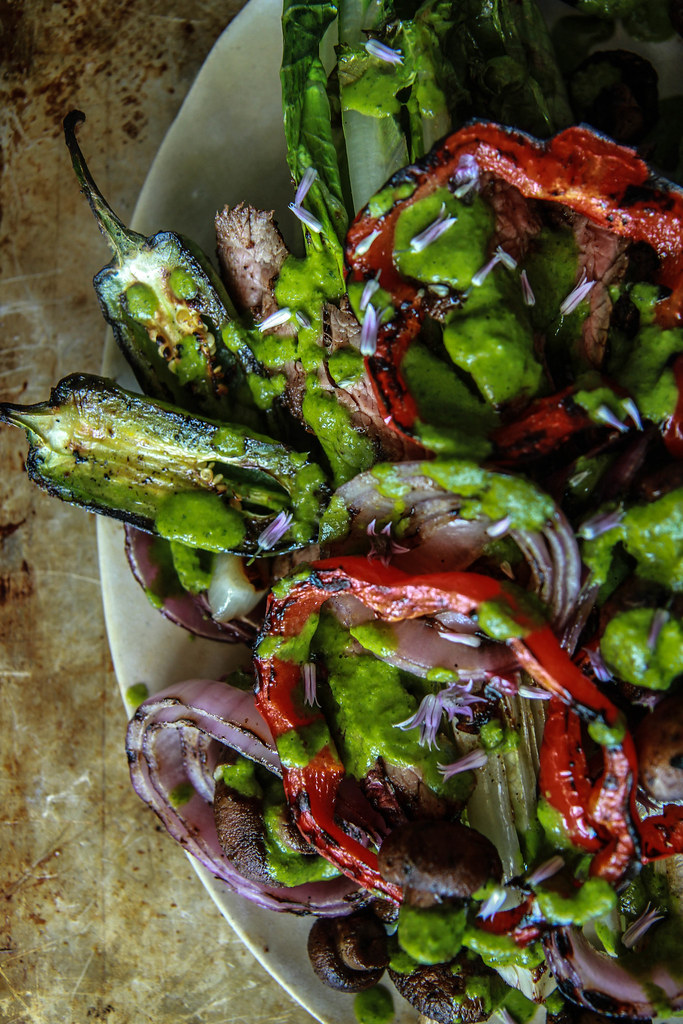 Grilled Steak Fajita Salad from HeatherChristo.com