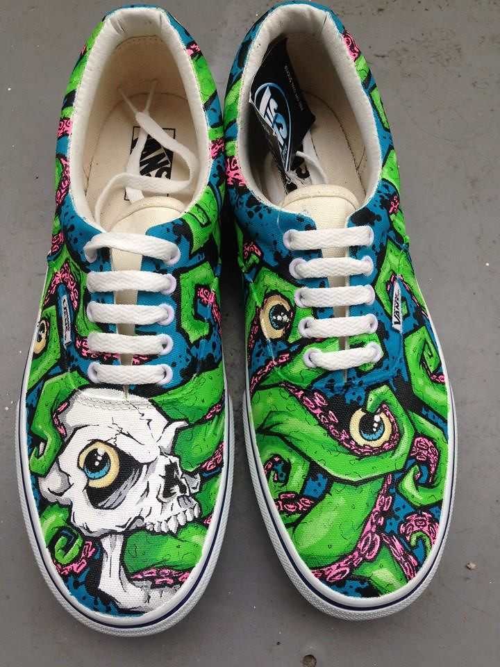 Custom shoe art by Danny P - Graffiti Skull