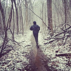 First real snow of the winter and we got to run in it! Totally worth the couple miles of rain we had first. #trailrunning #running