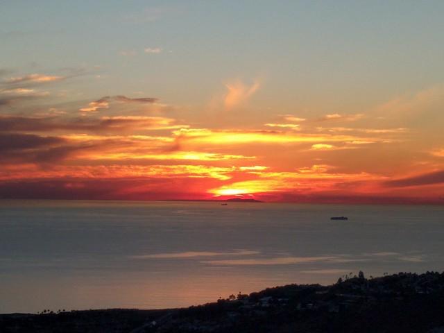 Sunset behind San Nicolas and Santa Barbara Islands