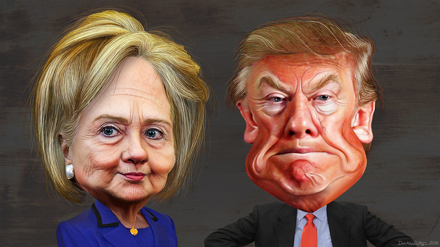 Hillary Clinton vs. Donald Trump - Caricatures by DonkeyHotey on Flickr